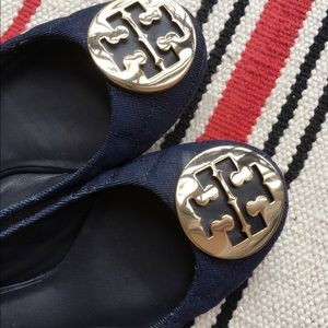 Tory Burch Quilted Ballet Flat Navy and Gold